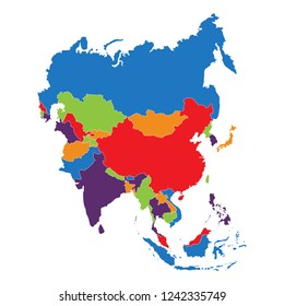 Vector Illustration Asia Outline Map Isolated Stock Vector (Royalty ...