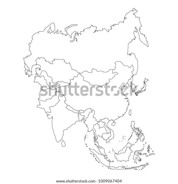 Raster Illustration Asia Outline Map Isolated ...