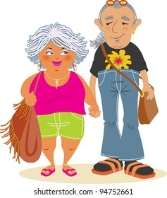 Raster Illustration of a Baby-Boomer Couple in Love Holding Hands