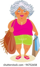 Raster Illustration of a Baby-Boomer Woman Shopping