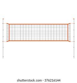 Raster illustration  beach volleyball net. Orange indoor volleyball net.