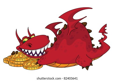 raster illustration of a big dragon with money