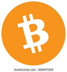 Raster illustration Bitcoin cash crypto currency blockchain flat logo isolated on white background. Block chain bitcoin cash sticker for web or print. Bitcoin logo.