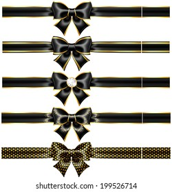 Raster illustration - black bows with gold and ribbons.