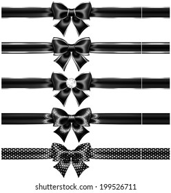 Raster illustration - black bows with silver and ribbons.