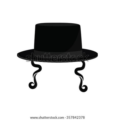 9c0c0352a80b3 Raster illustration black cylinder hat. Orthodox jewish hat with sideburns.  Judaism symbols