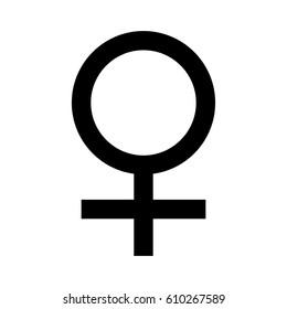 Raster illustration black female symbol. Gender sign woman.