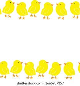 raster illustration border yellow little chickens on white background, seamless pattern