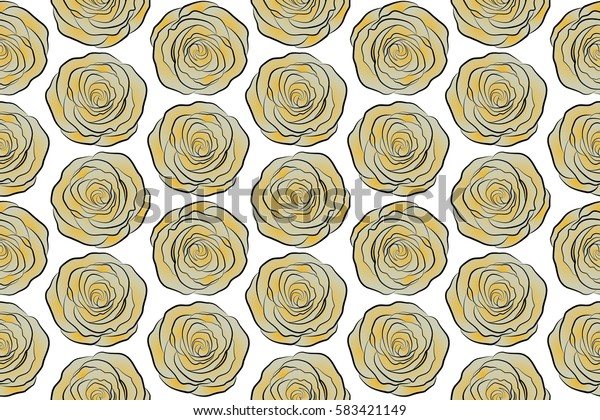 Raster illustration. Bouquets of yellow and neutral roses on a white background. Seamless pattern.