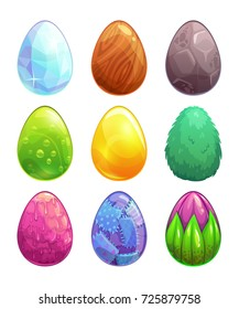 Raster illustration. Cartoon eggs with different material properties and textures. Different game assets, isolated on white background.