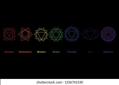 raster illustration chakra icon set, collection. Yoga, Buddhism symbol