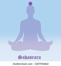Raster illustration chakra Sahasrara. Silhouette meditating. Practicing yoga. Yoga lotus pose, wellness concept.