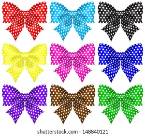 Raster illustration - collection of bows with polka dot.
