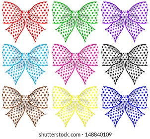 Raster illustration - collection of colored textured bows.