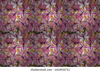 Raster illustration. Collection of colorful butterflies, flying in different directions. Abstract seamless pattern for girls, boys, clothes, wallpaper.