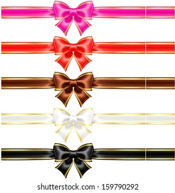 Raster illustration - collection of silk bows in warm colors with golden edging and ribbons.