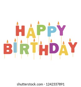 Raster illustration colorful happy  birthday candles isolated on white background