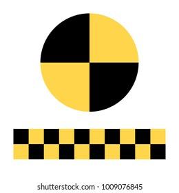 Raster illustration crash test dummies sign, symbol, icon isolated on white background