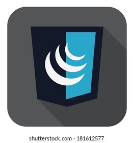raster illustration of dark blue shield with javascript sign, isolated web shield