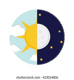 Raster illustration of day and night. Day night concept, sun and moon, day night icon