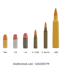 Raster illustration different types of bullets isolated on white background. Rifle bullets caliber