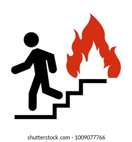 Raster illustration do not use elevator in case of fire sign, symbol. In case of fire use the stairs icon isolated on white background