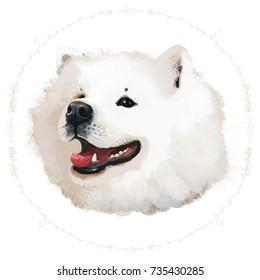 Raster illustration of dog in floral ring on white background. Portrait of Samoyed dog