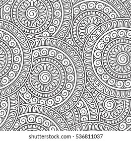 Raster illustration. Doodle background  with doodles and paisley. Vector ethnic pattern can be used for wallpaper, pattern fills, coloring books and pages for kids and adults. Black and white.