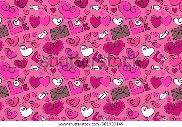 Raster illustration. Doodle hearts, rose flower, love text and letter. Hand drawn calligraphy wallpaper. Raster love lettering seamless pattern in magenta, white and pink colors.