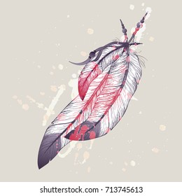 Raster illustration of eagle feathers with watercolor splash
