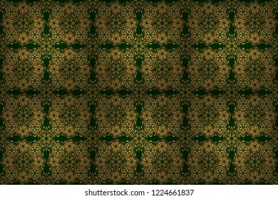 Raster illustration. Elegant Merry Christmas or Happy New Year 2018 seamless pattern with golden ornament on a green background.