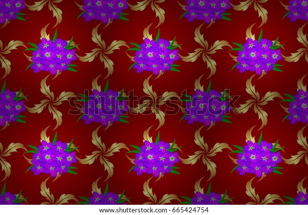 Raster illustration. Ethnic floral seamless pattern on a red background with decorative primrose flowers.