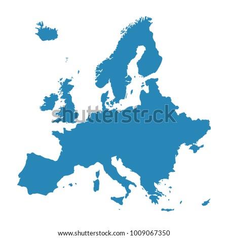 Raster Illustration Europe Map Isolated On Stockillustration ...