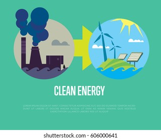Raster illustration of evolution from industrial pollution to clean energy. Greening of the world infographics. Traditional and alternative natural electricity resources. Development renewable energy