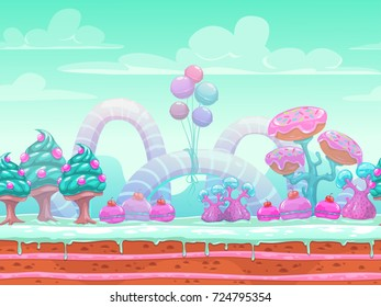 Raster illustration. Fantasy sweet world. Seamless candyland scene with cute blue, mint and pink elements,background for game or web design.
