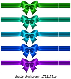 Raster illustration - festive bows in cool colors with ribbons.