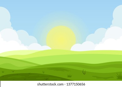 Raster illustration of fields landscape with a green hills, blue sky, and forest in flat style. Rural landscape. Raster illustration