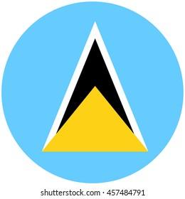 raster illustration flag of Saint Lucia icon. Round national flag of Saint Lucia.