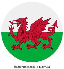 Raster illustration flag of Wales icon. Round national flag of Wales. Wales flag button