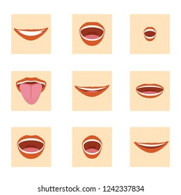Raster illustration flat mouth icon set. Cartoon mouth expressions element design