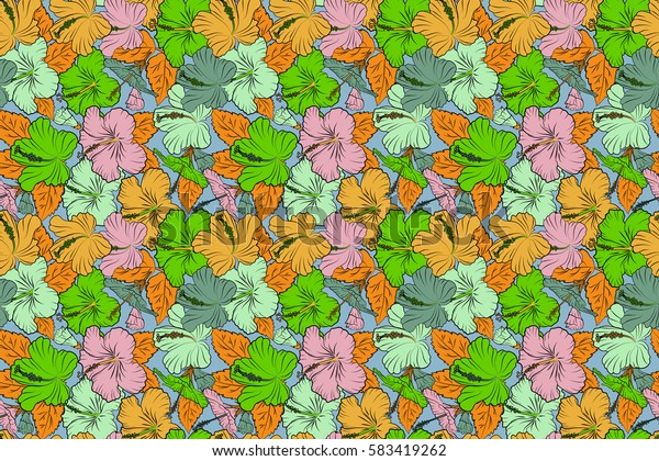 Raster illustration. Floral raster seamless pattern. Tropical floral seamless pattern with yellow, pink and green hibiscus flowers.