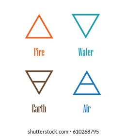 Raster illustration four elements icons, line symbols.  Air, fire, water and earth symbol. Alchemy icons. Four basic elements.