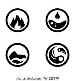 Raster illustration of four elements icons, round icons symbols. Logo template. Wind, fire, water, earth symbol. Pictograph.