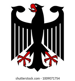Raster illustration German coat of arms eagle isolated on white background. German symbol, sign