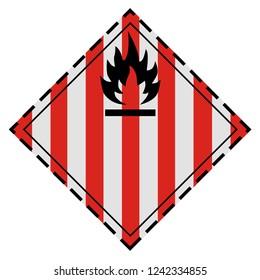 Raster illustration GHS hazard pictogram - flammable solid , hazard warning sign flammable solid icon isolated on white background