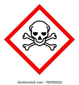 Raster illustration GHS hazard pictogram - acute toxicity , hazard warning sign acute toxicity , isolated on white background