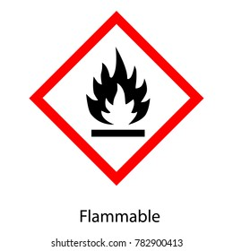 Raster illustration GHS hazard pictogram - flammable , hazard warning sign flammable icon isolated on white background