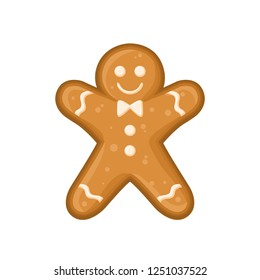 Raster illustration with gingerbread man with ornament of glaze isolated on the white background.