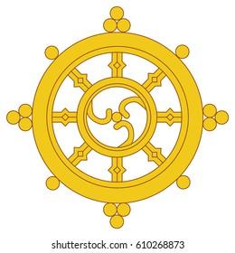Raster illustration golden Dharma wheel. Buddhism raster symbol. Dharmachakra.