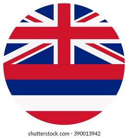 Raster illustration Hawaii flag raster icon. Round national flag of Hawaii. Hawaii flag button